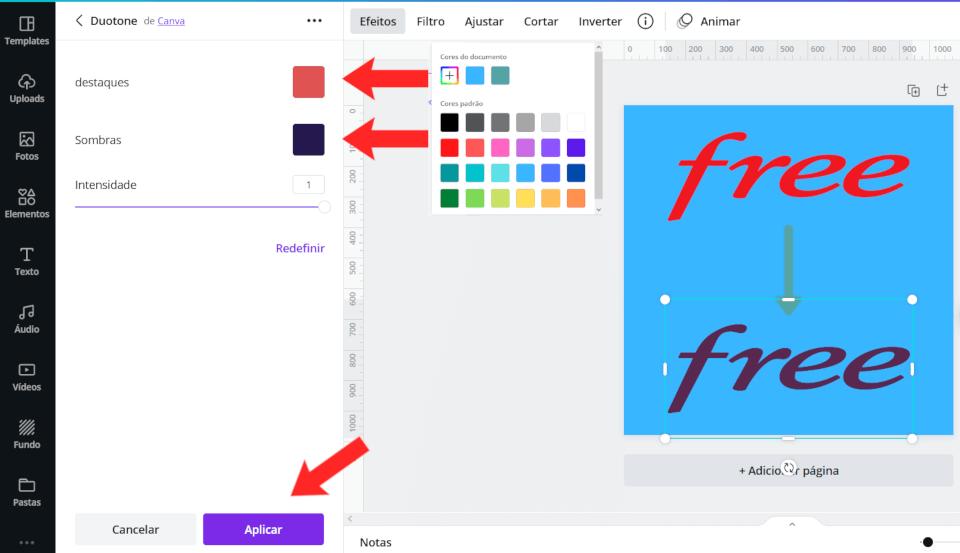 Mostrando como a truque de deixar com apenas uma cor funciona. Tem que informar a mesma cor nas duas opções.
