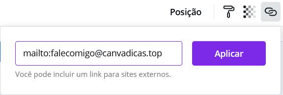 mostrando como criar um link de email no Canva