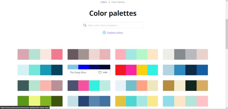 paleta de cores no canva